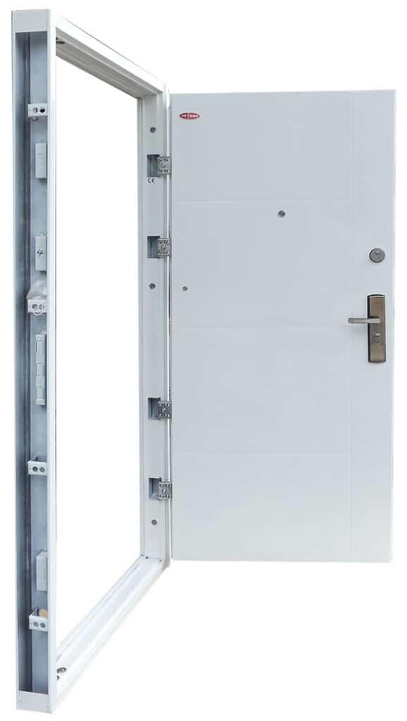 Fehér Modern mintás HiSec acél biztonsági bejárati ajtó