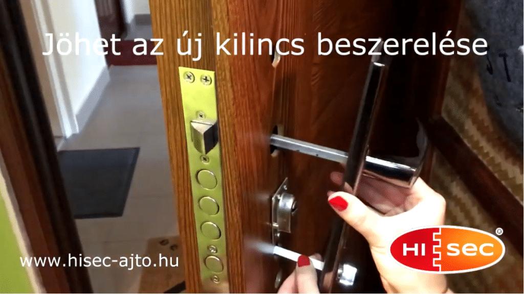 Kilincs cseréje egy HiSec biztonsági acél bejárati ajtóban